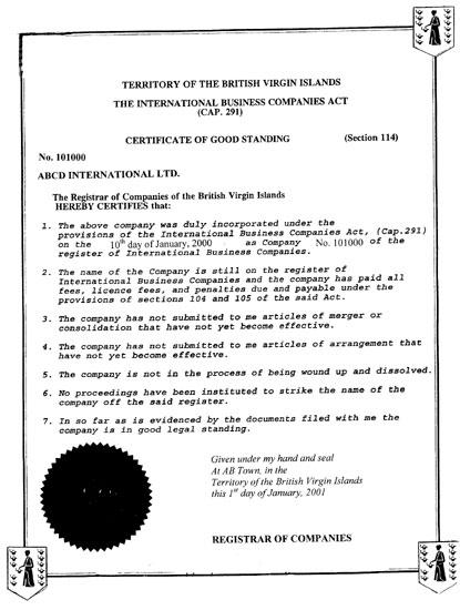 Sample certificate of good standing bvi image collections sample certificate of good standing bvi choice image certificate sample certificate of good standing bvi image yelopaper Image collections